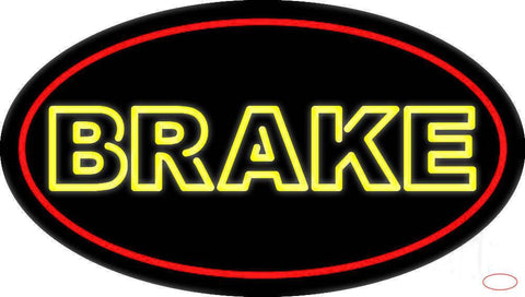 Yellow Double Stroke Brake With Border Real Neon Glass Tube Neon Sign