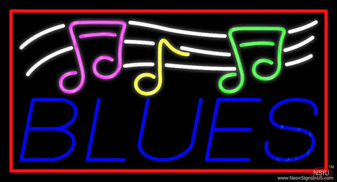Blues With Musical Note  Real Neon Glass Tube Neon Sign