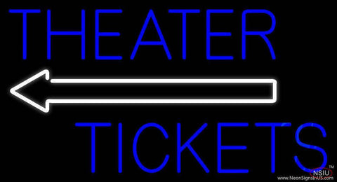 Blue Theatre Tickets With Arrow Real Neon Glass Tube Neon Sign