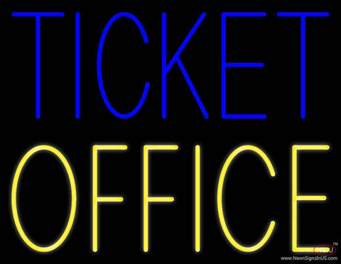 Blue Ticket Yellow Office Real Neon Glass Tube Neon Sign