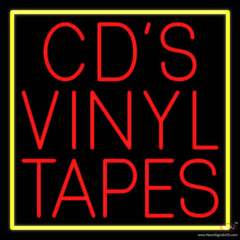 Cds Vinyl Tapes Block Real Neon Glass Tube Neon Sign