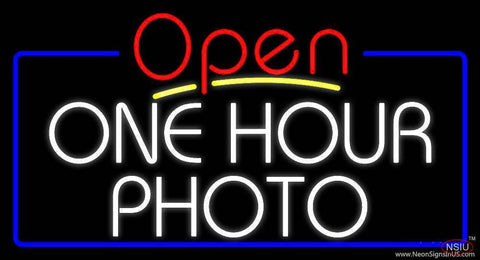 White One Hour Photo Open  Real Neon Glass Tube Neon Sign