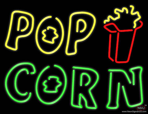 Yellow Pop Green Corn Real Neon Glass Tube Neon Sign