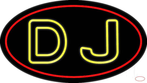 Yellow Dj Double Stroke Real Neon Glass Tube Neon Sign