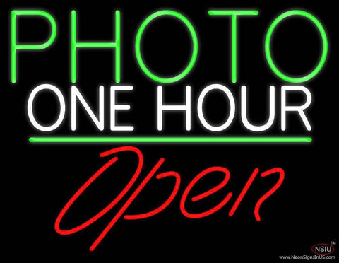 Green Photo One Hour With Open  Real Neon Glass Tube Neon Sign