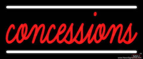 Red Cursive Concessions Real Neon Glass Tube Neon Sign
