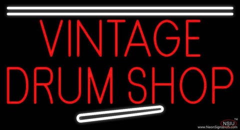 Vintage Drum Shop Real Neon Glass Tube Neon Sign