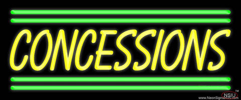 Yellow Concessions Green Line Real Neon Glass Tube Neon Sign