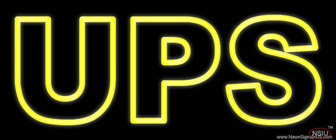 Yellow Ups Double Stroke Real Neon Glass Tube Neon Sign