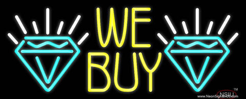 Yellow We Buy Turquoise Diamond Logo Real Neon Glass Tube Neon Sign