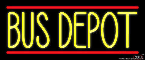 Yellow Bus Depot Real Neon Glass Tube Neon Sign