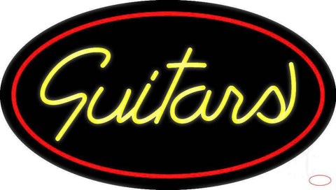 Yellow Guitars Cursive Real Neon Glass Tube Neon Sign