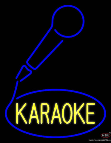 Yellow Karaoke With Mike Logo  Real Neon Glass Tube Neon Sign