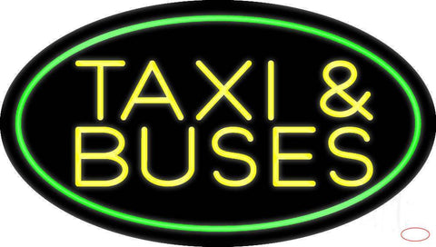 Yellow Taxi And Buses With Border Real Neon Glass Tube Neon Sign