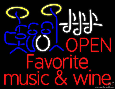 Red Open Music Fovorite Music And Wine Real Neon Glass Tube Neon Sign