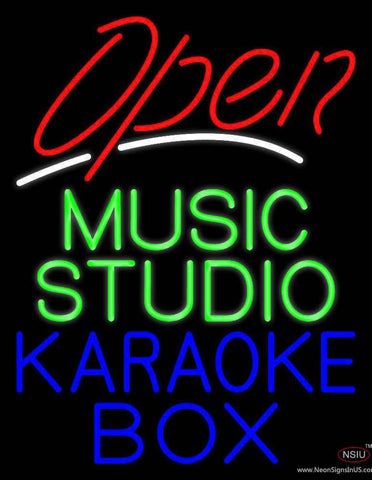 Red Open Green Music Studio Blue Karaoke Box  Real Neon Glass Tube Neon Sign