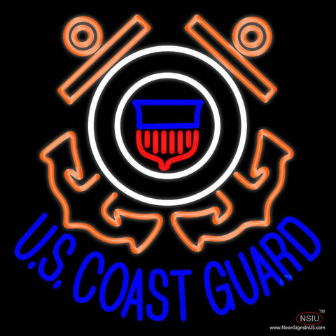 Us Coast Guard Logo Real Neon Glass Tube Neon Sign