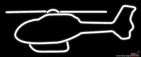 White Helicopter Logo Real Neon Glass Tube Neon Sign