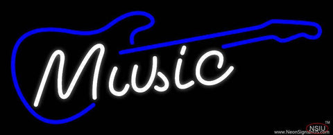 White Music Blue Guitar  Real Neon Glass Tube Neon Sign