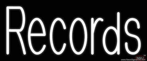 White Records  Real Neon Glass Tube Neon Sign