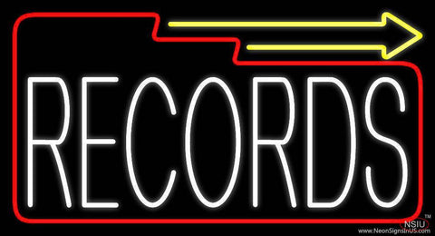 White Records Block With Arrow  Real Neon Glass Tube Neon Sign