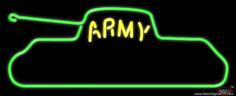 Yellow Army Real Neon Glass Tube Neon Sign
