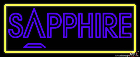 Yellow Border Sapphire Purple Real Neon Glass Tube Neon Sign