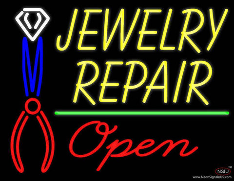 Yellow Jewelry Repair Red Open Block Real Neon Glass Tube Neon Sign
