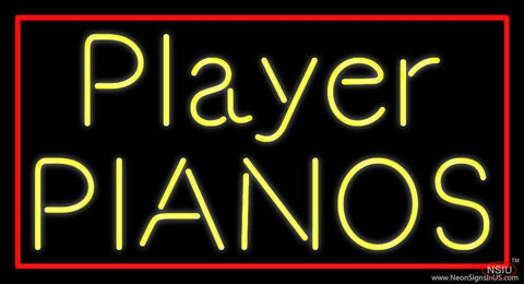 Yellow Player Pianos Block Red Border Real Neon Glass Tube Neon Sign