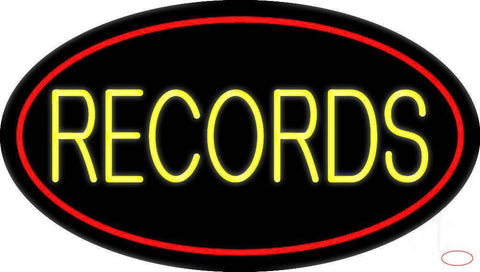 Yellow Records Block Red Border  Real Neon Glass Tube Neon Sign