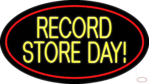 Yellow Record Store Day Block Red Border Real Neon Glass Tube Neon Sign