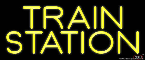 Yellow Train Station Real Neon Glass Tube Neon Sign