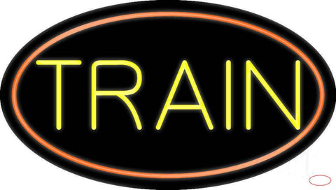 Yellow Train With Border Real Neon Glass Tube Neon Sign