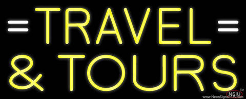 Yellow Travel And Tours Real Neon Glass Tube Neon Sign