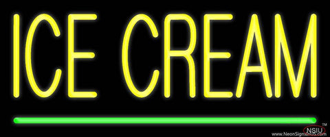 Yellow Ice Cream Green Line Real Neon Glass Tube Neon Sign