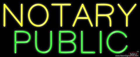 Yellow Green Notary Public Real Neon Glass Tube Neon Sign