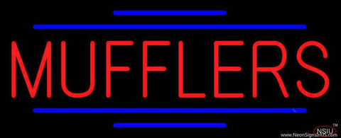 Red Mufflers Blue Double Lines Real Neon Glass Tube Neon Sign