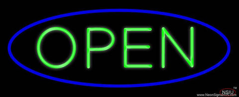 Green Open with Blue Oval Border Real Neon Glass Tube Neon Sign