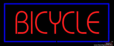 Red Bicycle Blue Rectangle Real Neon Glass Tube Neon Sign