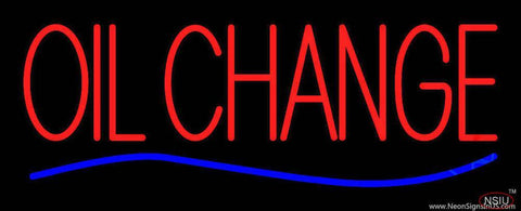 Red Oil Change Blue Line Real Neon Glass Tube Neon Sign