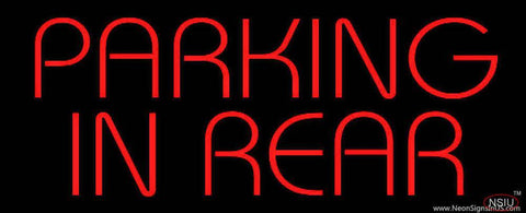 Red Parking In Rear Real Neon Glass Tube Neon Sign