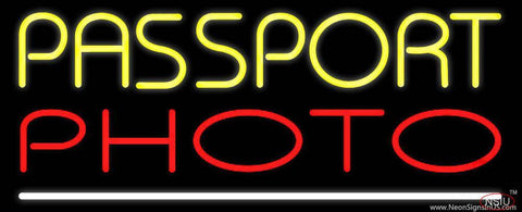 Yellow Passport Red Photo White Line Real Neon Glass Tube Neon Sign