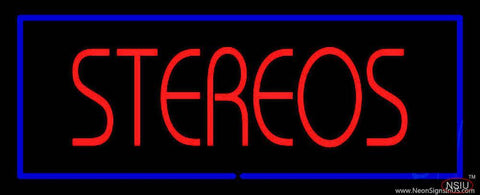 Stereos Blue Border Real Neon Glass Tube Neon Sign