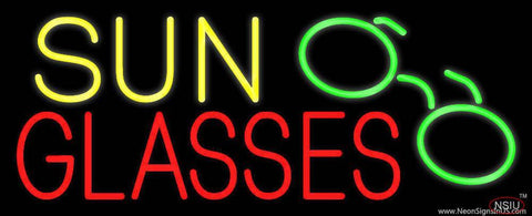 Yellow Sun Red Glasses with Logo Real Neon Glass Tube Neon Sign