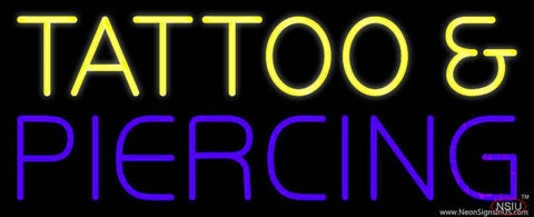 Yellow Tattoo and Purple Piercing Real Neon Glass Tube Neon Sign