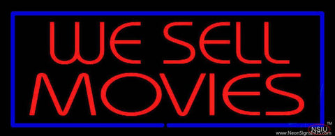 We Sell Movies Blue Border Real Neon Glass Tube Neon Sign