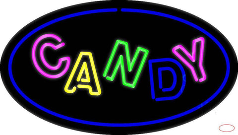 Candy Oval Blue Real Neon Glass Tube Neon Sign