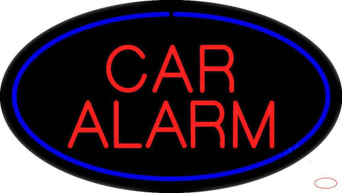 Car Alarm Oval Blue Real Neon Glass Tube Neon Sign