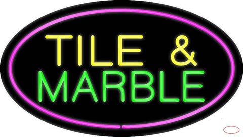 Tile and Marble Oval Purple Real Neon Glass Tube Neon Sign