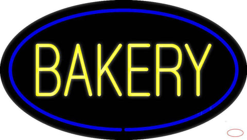 Yellow Bakery Oval Blue Real Neon Glass Tube Neon Sign
